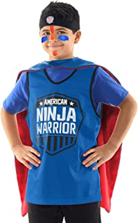 American Ninja Warrior Kids Role Play Set – Deluxe Version - Headband, Blue Jersey, Face Paint, Reversible Cape