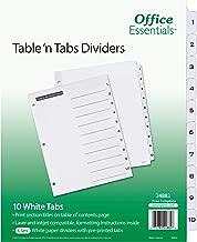 Office Essentials Table 'n Tabs Dividers, 8-1/2 x 11, 1-10 Tab, Black/White Tab, Laser/Inkjet, 6 Pk (24882)