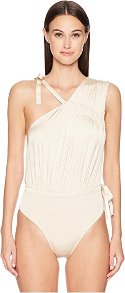 Asymmetric Ruched Tie Maillot