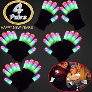 4 Pairs Led Gloves Light Up Glow Glove New Year Eve Glow in The Dark Rave Party Supplies Birthday Xmas Light Up Party Favor Toys for Kid 6 Mode Flashing Finger Light for Christmas Glow Toy Samll
