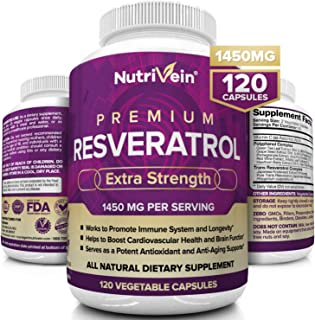 Nutrivein Resveratrol 1450mg - Antioxidant Supplement 120 Capsules – Supports Healthy Aging and Promotes Im...