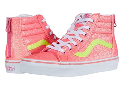 Vans Kids Sk8-Hi Zip (Little Kid) ((Neon Glitter) Pink/True White) Girls Shoes