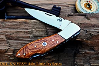 DKC Knives Sale DKC-58-LJ-OW-440c Little Jay 440c Stainless Steel Blade Folding Pocket Knife Olive Wood Handle 4