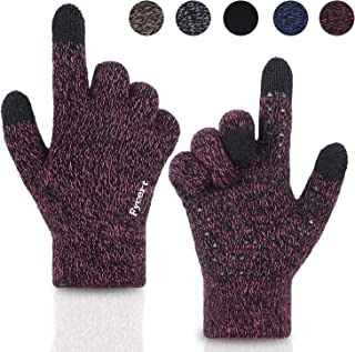 Winter Gloves Knit Touch Screen Anti-Slip Silicone Gel - Elastic Cuff - Thermal Soft Wool Lining - Stretchy Material