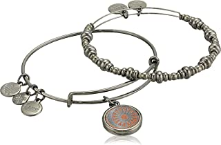 Alex and Ani Women's Cosmic Balance Set of 2 Bracelet, Midnight Silver, Expandable