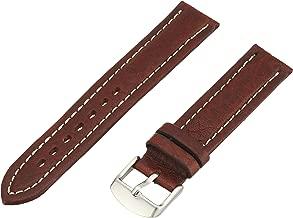 Hadley-Roma Men's MSM886RA-180 18-mm Black Genuine Shrunken Leather Watch Strap