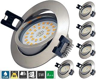 Led Spot Encastrable Extra Plat Dimmable IP44, Éclairage encastré de salle de bain 6 * 5W AC 230V Blanc Chaud 3000K 400LM ...