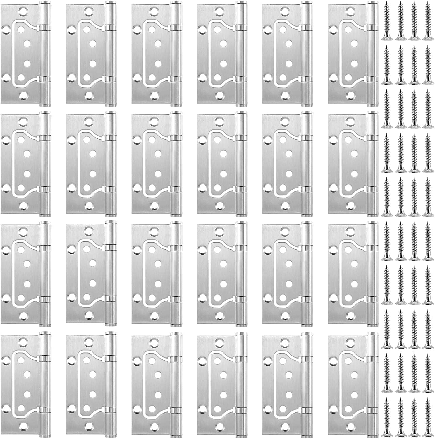 ZEONHAK 18 Pack 9 Pairs 4X 3 Inches Door Hinges, Brushed Surface Door Hinges, Stainless Steel Door Hinges with Mounting Screws, Silver
