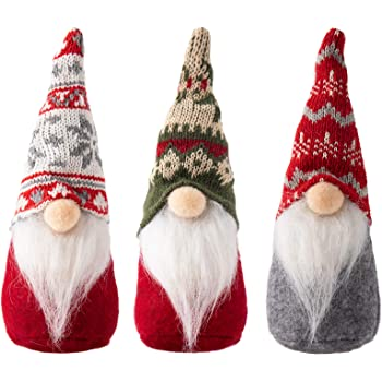 3 Packs Swedish Tomte Christmas Gnome Ornaments- 3 Styles Handmade Scandinavian Christmas Tomte Knitting Nordic Nisse Santa Elf Plush Dolls for Xmas Thanksgiving Winter Holiday Table Decor Ideal Gifts