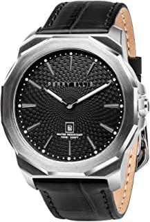 Perry Ellis Mens Watch Decagon Quartz Luminous Watch with Date Genuine Leather Band Waterproof