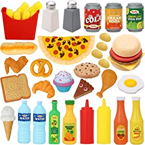 JOYIN 45 Pcs Play Food Sets for Kids Kitchen, Popular Grocery Store Play Food, Pretend Play Toy Set for Kids, Gifts for Toddlers, Boys and Girls