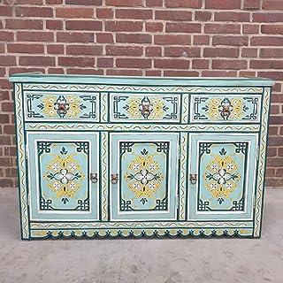 Casa Moro | Cómoda marroquí Turquesa de Madera Maciza con 3 cajones y 3 Puertas auténtica artesanía de Marrakesch | MO4120