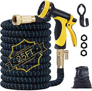 Expandable Garden Hose,25ft Water Hose Flexible Garden Hose with Triple Latex Core,10 Function Water Spray Nozzle,3/4