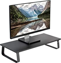 VIVO Black 24 inch Monitor Riser - Wood & Steel Desktop Stand | Screen, Keyboard, Laptop, Small TV Ergonomic Desk and Tabletop Organizer (STAND-V000D)