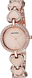 Armitron Women's 75/5606BHRG Swarovski Crystal Accented Rose Gold-Tone and Blush Pink Heart Shaped Bracelet Watch