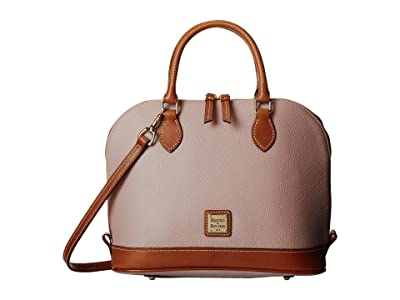Dooney & Bourke Pebble Zip Zip Satchel (Oyster w/ Tan Trim) Satchel Handbags