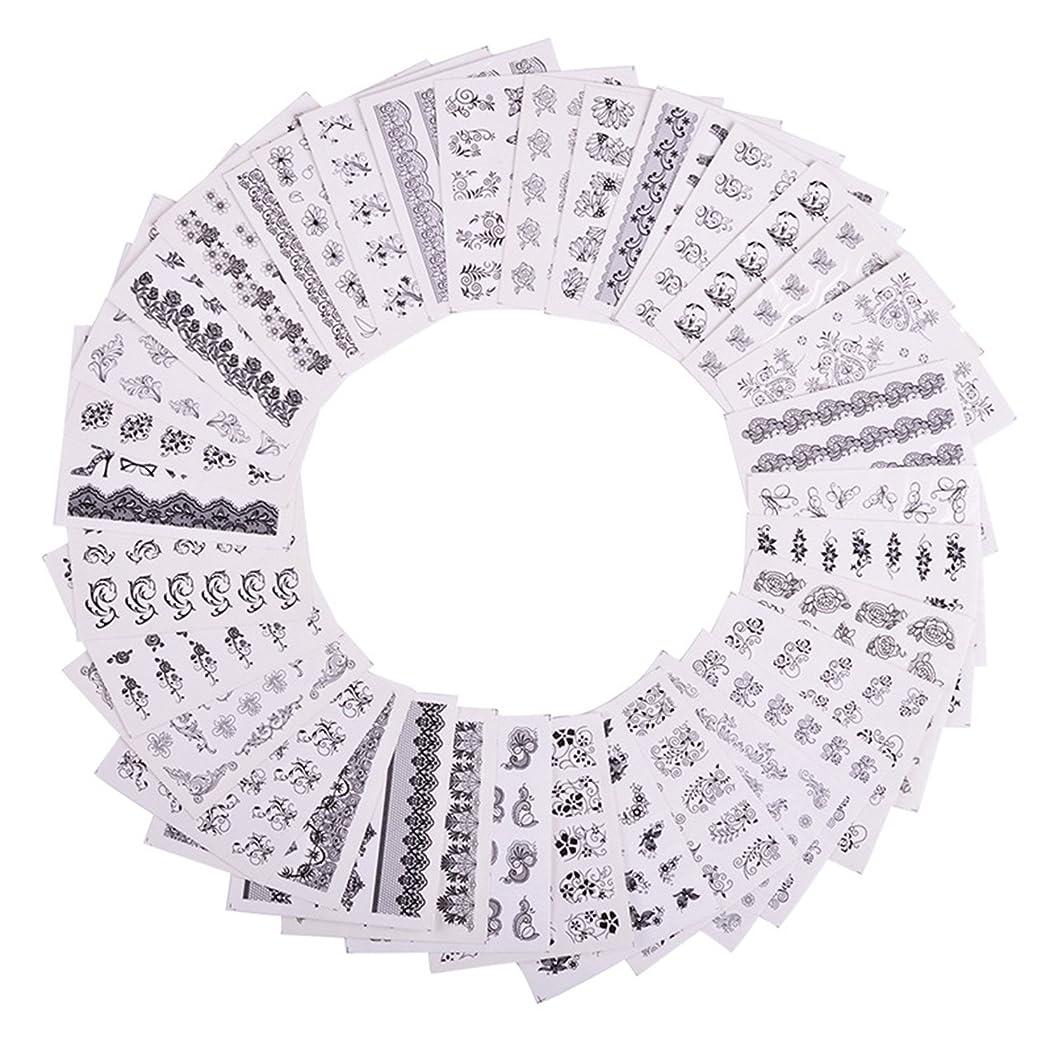 ギャンブルブルーベル試用Sasairy 48枚セット ネイルステッカー 3D 黒と白のレース柄 極薄 重ね貼りOK ウォーターネイルシール パターンネイルシール DIY 環境保護 ネイルアートシール ネイルデコ