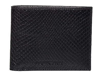 Emporio Armani Textured Bifold Wallet (Black) Wallet Handbags