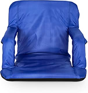 Camco Blue Portable Reclining Stadium Seat for Bleachers with Carry Straps-Water Resistant, Comfortable Cushioned Design with Arm Rests, and Zippered Storage (53095)