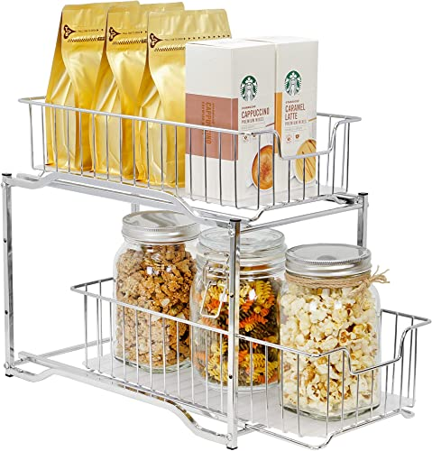 lowest CAXXA outlet sale 2 Tier Sliding Cabinet Basket online Organizer, Bathroom Pull-Out Drawer Organizer, Space Saving with Handles (Medium, CHROME) online sale