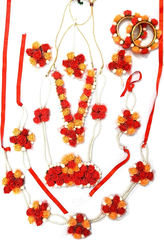 Quvyarts Floret Multi-Strand Fabric Red And Orange Mogra Flower Bridal Jewellery Set For Women