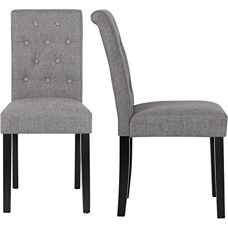 Roundhill Furniture Collection Biony Espresso Wood Dining Set With Gray Fabric Nailhead Chairs Chairs