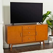 """Walker Edison Mid-Century Modern Wood Stand for TV's up to 65"""" Flat Screen Living Room Storage Entertainment Center, 60 In..."""