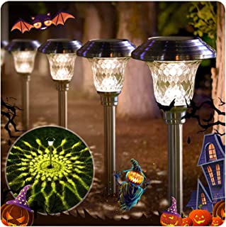 BEAU JARDIN Solar Pathway Lights 8 Pack Supper Bright Up to 12 Hrs Landscape Stake Glass Stainless Steel Waterproof Auto O...