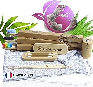 Set mit 4 Zahnbürsten aus Bambus, Packung mit 2 wiederverwendbaren Wattestäben, 1 Box aus Bambus mit 30 m langen umweltfreundlichen Zahnseide. Wird in einem eleganten Baumwollbeutel geliefert.