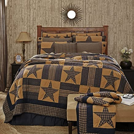 featured product VHC Brands Teton Star Queen Cotton Quilt in Blue and Tan