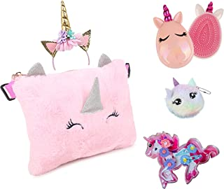 Aashiya Soft Plush Unicorn Bag & Hairband unicorn hair comb, Hair clip box+coin fur purse for girls