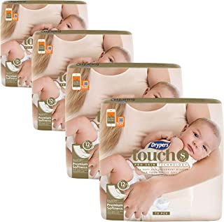 Drypers Touch Diapers S Case, Pack of 4, 70 count