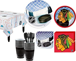 Party City Chicago Blackhawks Party Kit for 16 Guests, Includes Table Cover, Plates, Napkins and More