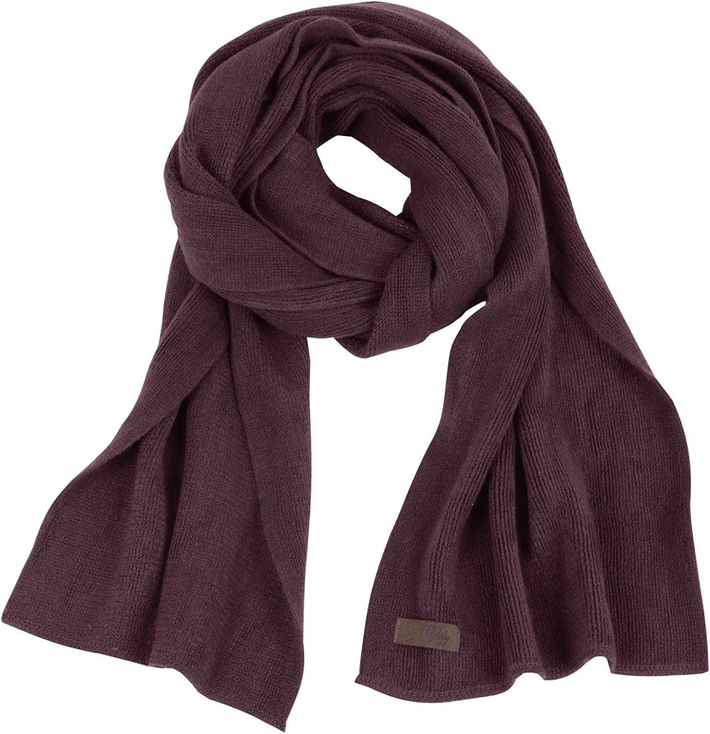 ililily Solid Color Neck Warmer Wide Lightweight Long Scarf