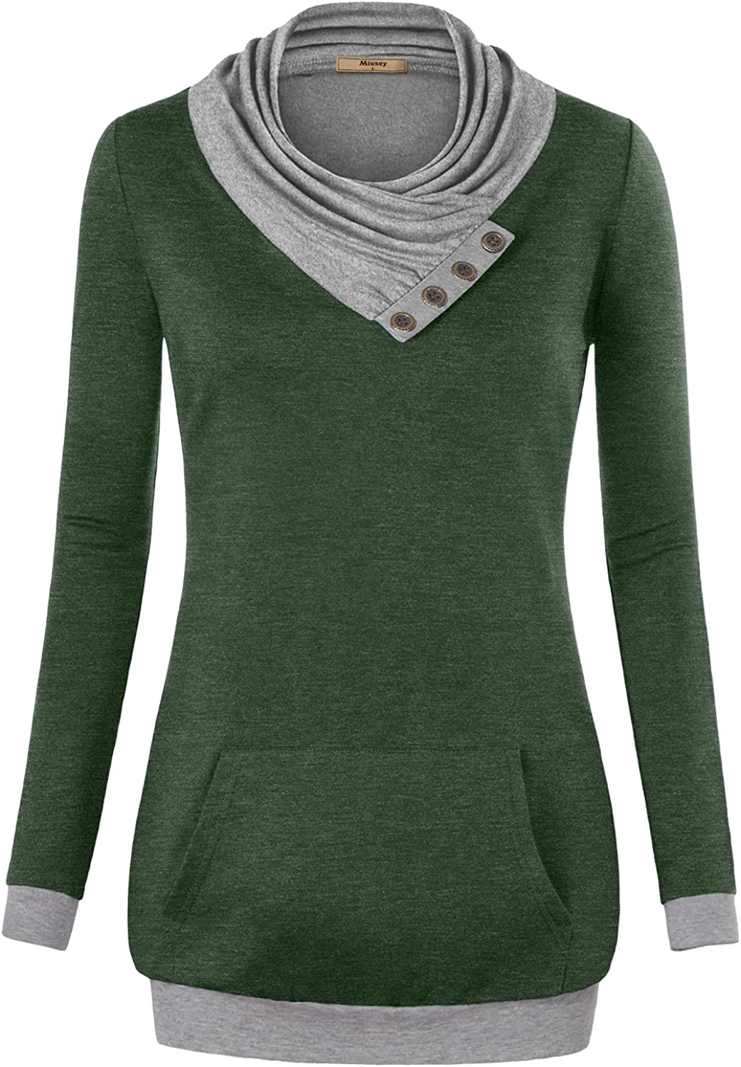 Miusey Womens Cowl Neck Long Sleeve Pullover Tunic Sweatshirts with Pocket