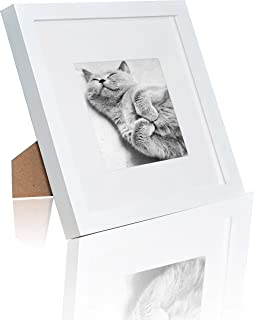 Ray & Chow 8x8 inch White Square Picture Frame - Made to Display 8x8 Picture Without Mat or 4x4 with Mat- Glass Window- Solid Wood- with Table Top Stand or Wall Hanging