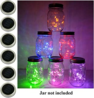 6 Pack Mason Jar Lights, 10 LED Solar Multi-Colored Fairy String Lights Lids Insert for Garden Deck Patio Party Wedding Decorative Lighting Fit for Regular Mouth Jars