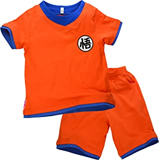 Niños Disfraz Camiseta T-Shirt Shorts para Bola del Dragón Son Goku Traje de Entrenamiento Ropa Sudadera (140 (9-10 años))