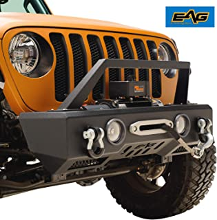 EAG Stubby Front Bumper with Fog Light Housing and Winch Plate Fit for 18-19 Jeep Wrangler JL