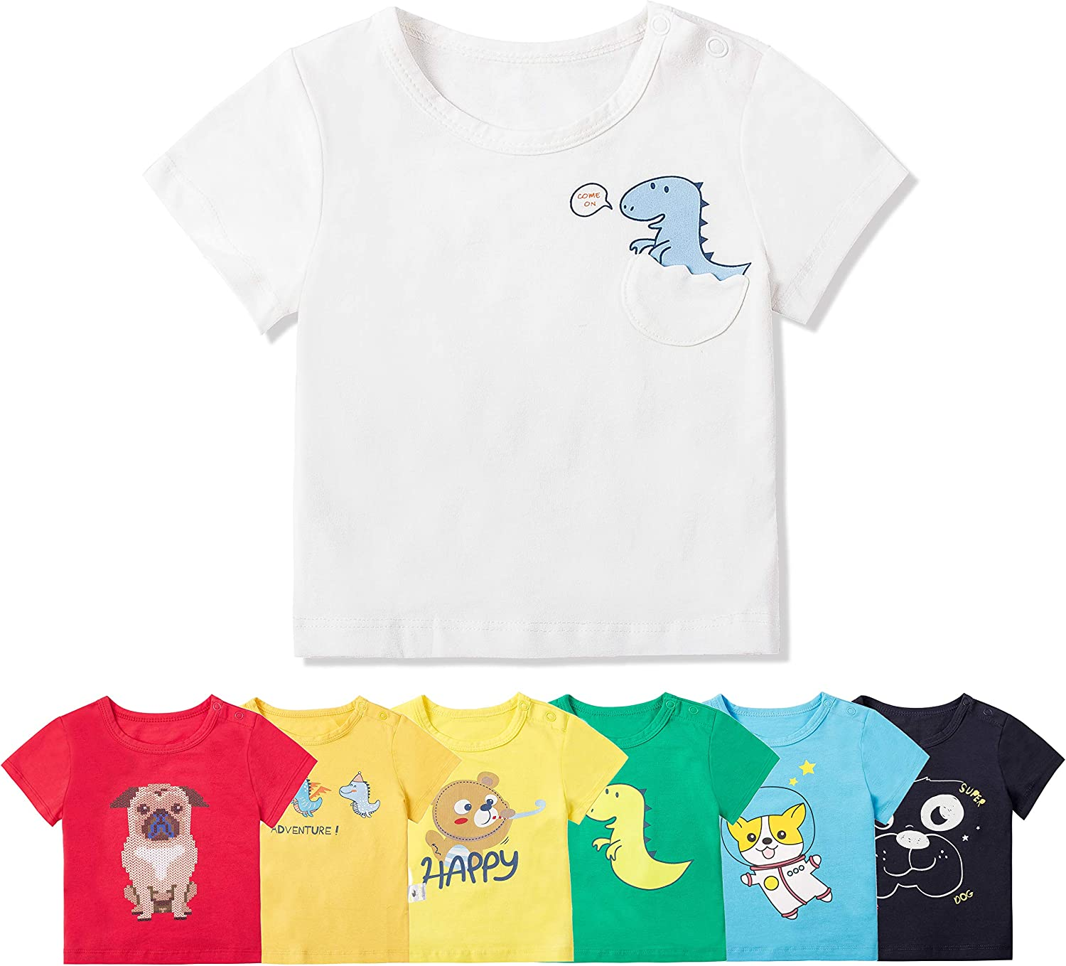 COTTON FAIRY Baby Boy 7 Pack Short Sleeve Crew Tees T-Shirts