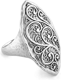 PZ Paz Creations 925 Sterling Silver Elongated Marquise Statement Ring for Women | Vintage Style Filigree Textured Oxidized Chunky Bohemian Jewelry Gifts