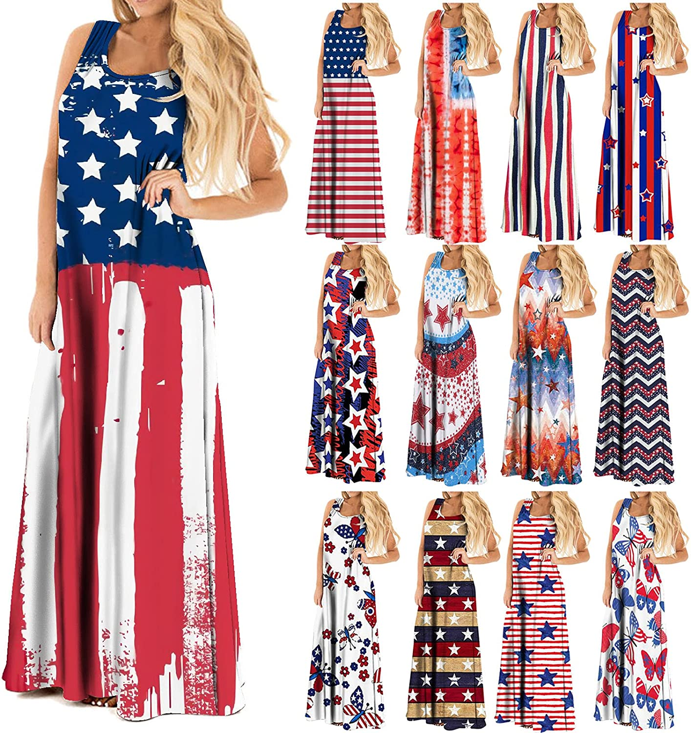 Smooto 2021 Summer Dress for Women Independence Day Festival Printed Maxi Dress