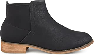 Brinley Co. Womens Faux Leather Gore Back Two-Tone Booties