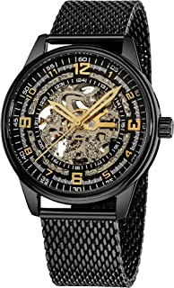 Akribos Automatic Skeleton Mechanical Men's Watch - Bravura Saturnos Professional Mesh Bracelet See Through Dial - Skeletonized Dial - AK446