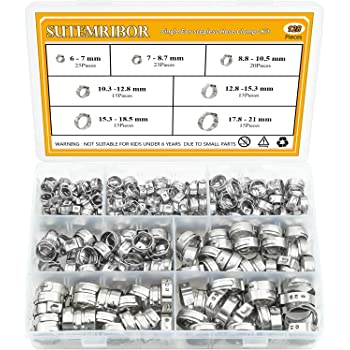 WMYCONGCONG 35 Pcs 7-21mm 304 Stainless Steel Single Ear Hose Clamps Clips Pinch Clamp Assortment Kit for Various Hoses Plastic Tubes Use