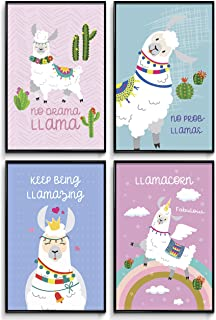 Llama Wall Decor, Girls Room Decor, Girl Wall Decor, Posters for Girls, Motivational Poster, Bedroom Decor, Wall Art Prints, Kids Room, Nursery Wall Decor, Gifts for Girls or Teens. Set of 4 11x17in.