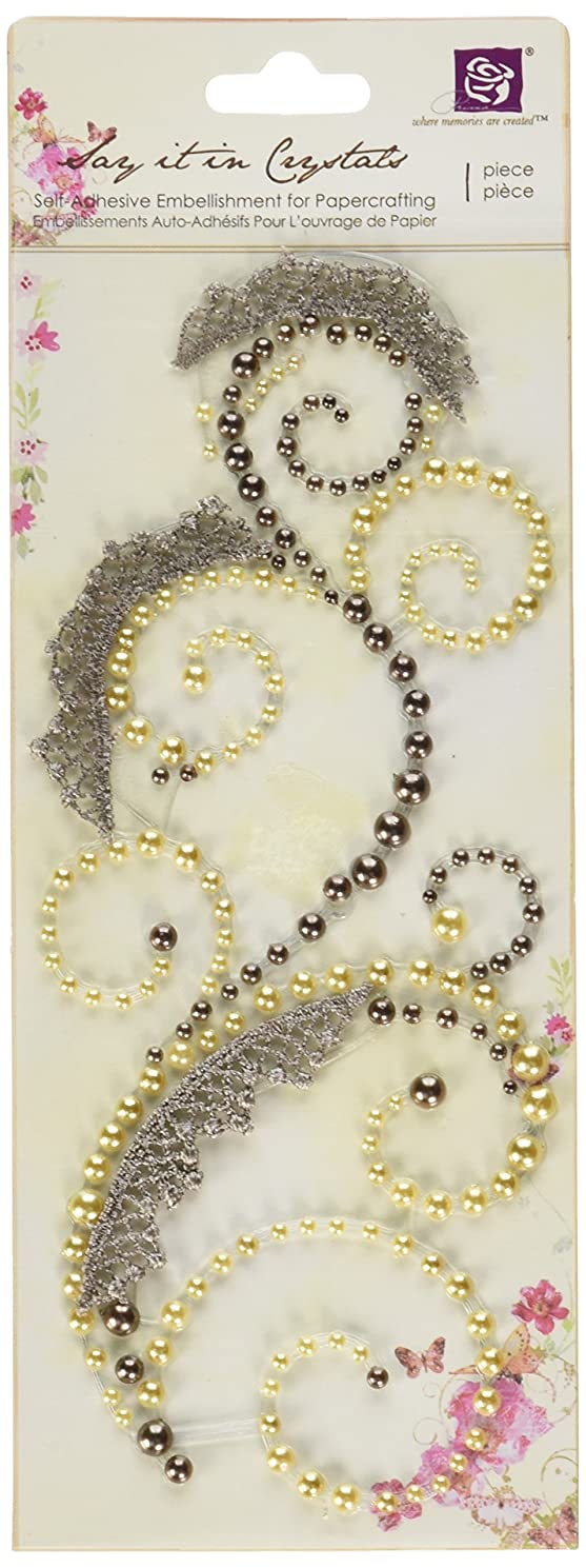 Prima 540869 3 by 7-Inch Say It in Pearls and Crystals Swirl with Lace, Brown