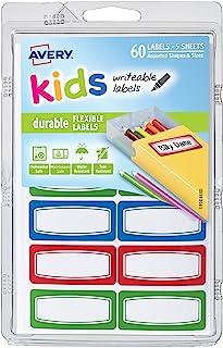 برچسب های Avery 0.75 x 1.75 اینچ کودکان با دوام ، انواع ، بسته 60 (41441)