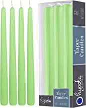 Hyoola 12 Pack Tall Taper Candles - 10 Inch Celery Green Dripless, Unscented Dinner Candle - Paraffin Wax with Cotton Wick...