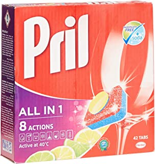 Pril All in 1 Grease Cutting Dishwasher Detergent - 42 Tabs, 756 g